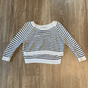 LF black and white cropped sweater